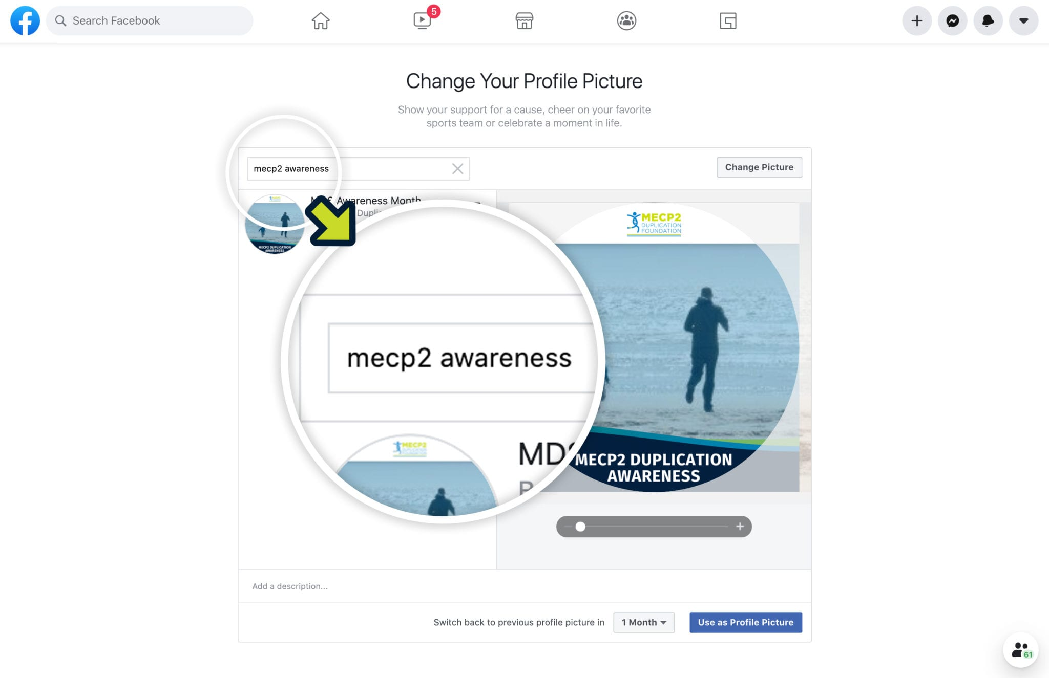 visual instructions for adding MECP2 duplication awareness facebook frame